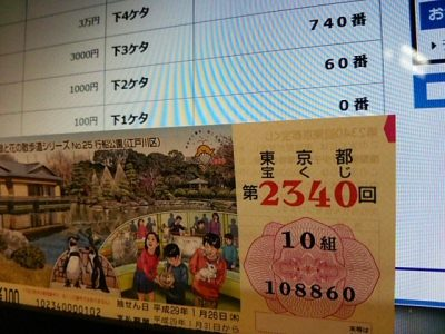 0127 400x300 第2340回東京都宝くじ 5等・6等のダブル当選
